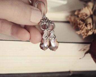 Silver & Swarovski Earrings - Topaz - Purple - Victorian - Fantasy Winter Wedding - Bridal - Holidays - December - Christmas