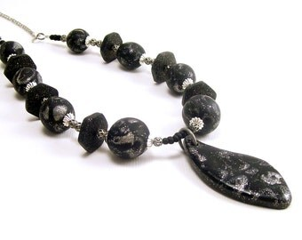 Beaded Necklace, Handmade, Black with Silver Glitter