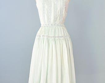 Vintage 1950s Dress...Soft Cotton Pale Mint Skirt and Blouse Two Piece