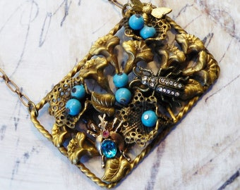 Bug Garden,Vintage Brass Flowers Turquoise Glass Beads,Rhinestone Beetles,Bug & Bee Vintage Upcycled Assemblage Necklace,Hollywood Hillbilly