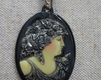 FABULOUS Vintage Black Celluloid Cameo Necklace for Repurpose