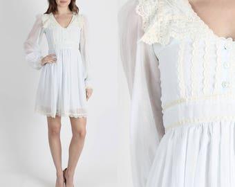 Gunne Sax Dress Lace Dress Jessica McClintock Dress Boho Wedding Dress Bohemian Dress Vintage 70s Dress Pale Blue Lace Collar Hippie Mini S