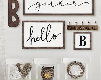 Hello Sign | Gallery Wall Sign | Kitchen Sign | Wood Sign | White Hello Sign | Framed Sign| Dining Room Decor | Welcome Sign|