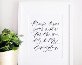 Wedding Sign Calligraphy Print - Wedding Reception Decor - Reception Sign - Wedding Decor - Wishes for Mr and Mrs