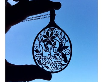 Hummingbird Necklace, Personalized Hummingbird Statement Spoon Pendants, Customized Custom Order Monogram Text Large Bird Art Spoon Pendant