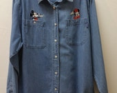 Vintage Disney, Mickey and Minnie Mouse Shirt/Blouse, Denim,  Jerry Leigh, Large/XL,  #63438