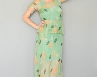 Vintage 1930's Floral Sheer Green Dress