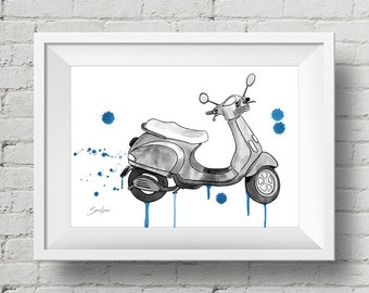 Black & White Scooter Away!: print vespa scooter watercolor painting