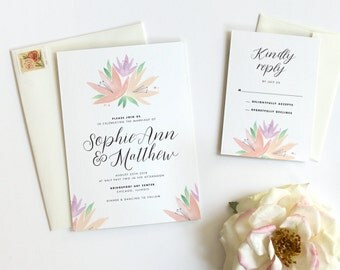 Floral Wedding Invitation, Botanical Wedding Invitation, Wedding Invitation Set, Watercolor, Romantic