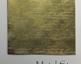 """Textured Brass Sheet 2.5"""" x 3"""" - Wave Pattern 79 - Great for Jewelry or Rolling Mill impressions"""