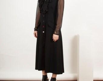 Mesh Button Up Dress / Vintage Black See Through Dress / Ruffles Long Sleeve Dress