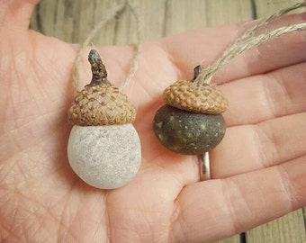 ACORN PAIR - © Scottish Beach Finds - Seaham Glass Shards - Christmas Tree Decoration - Eco Friendly - Handmade (bubbles)