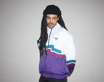 80s Vintage Pony Brand Colorblock Hip Hop Track Windbreaker Jacket - 80s Clothing - MV0051