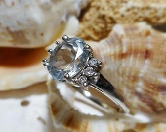 14k Aquamarine and Diamond Ring White Gold 2cttw 2.91g Sz 9