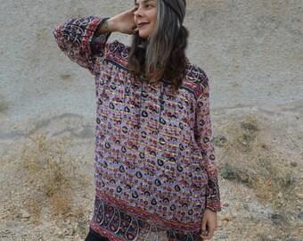 Vintage 60s/70s Indian Gauze Metallic Boho Hippie Tunic Caftan Dress