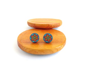 Little Orange Flower Sky Blue Stud Earrings, Fimo Polymer Clay, Stainless Steel. By Supremily Jewellery. Hypo allergenic.