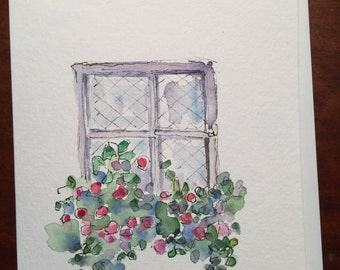 Window Box Watercolor Card / Hand Painted Watercolor Card