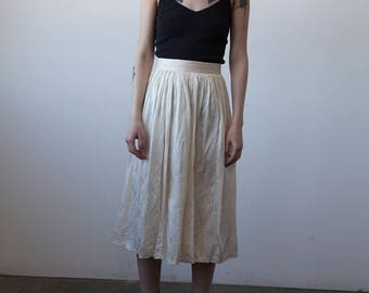 SALE 50% OFF Vintage Ivory SILK Pleated Midi Length High Waist Skirt S