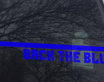 Back The Blue Decal ~ Thin Blue Line ~ Car, Cell Phone, Laptop, USA, United States, Patriotism, Police Officer, Corrections, Law Enforcement