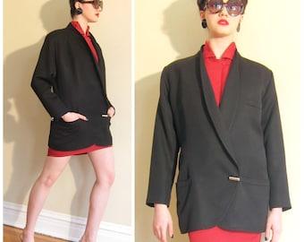 Vintage 1980s Black Wool Gianna Versace Blazer / 80s Oversized Asymmetical Designer Italian Jacket / Medium