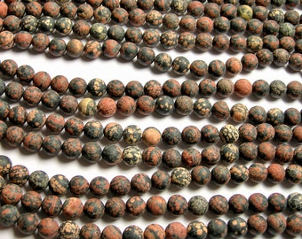 Red Snowflake Obsidian - Matte - 10mm(9.6MM) round beads - full strand - 41 beads - A quality - ...