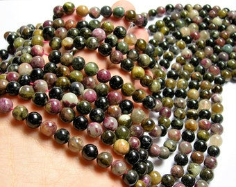 Tourmaline - 8mm round beads - full strand - 48 beads - Ab quality - multi color tourmaline - ...
