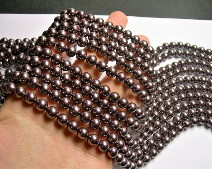 Shell pearl  - 8 mm round - dark purple  pearl - 1 full strand - 48 beads - SPT30
