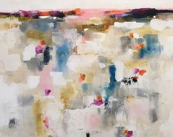 Abstract Colorful Landscape Painting Original Art -Quiet Landscape 40 x 60