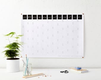 2018 Script Wall Calendar - Year Planner - Black and White Calendar - Wall Planner