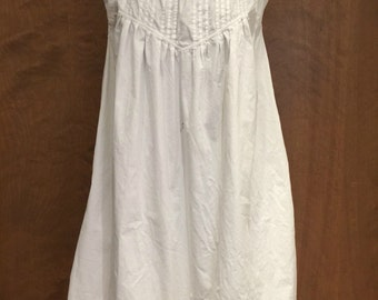 Vintage 70s Cotton Dress / Nightgown / Off Shoulder / Small