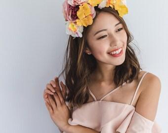spring summer floral headpiece // Corisande / bright rose leaf flower statement headband, fascinator, garden wedding, spring