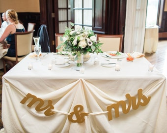 Mr and Mrs Sign for Wedding Table or Photo Prop, Table Signs Hanging Mr and Mrs Letters, Mr & Mrs Banner Ribbon Sign Set (Item - HMM100)