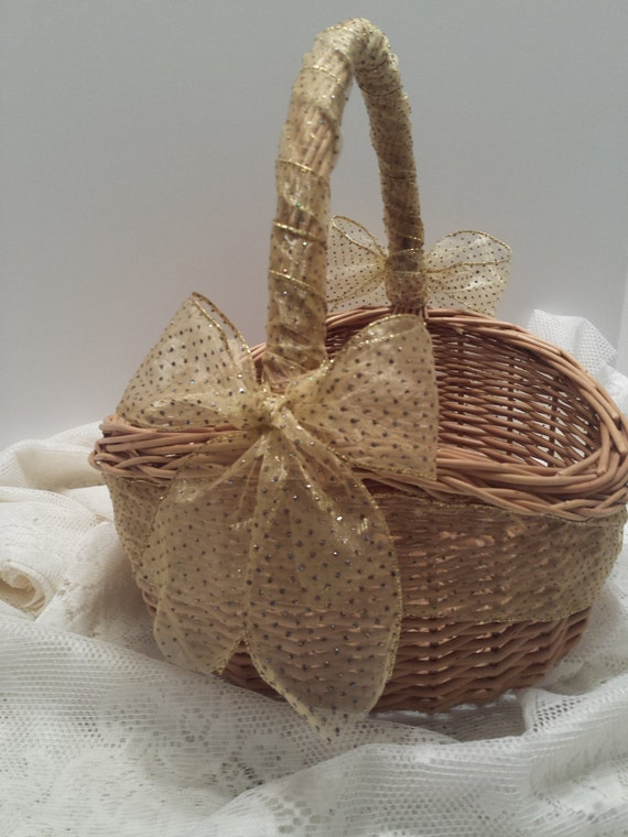 Wedding Gift Card Basket - Natural Wicker Wedding Basket - Ribbon and Bows Adorned Wedding Basket - Wedding Necessary Basket