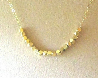 Gold Nugget Necklace, Gold Fill, Layering Necklace