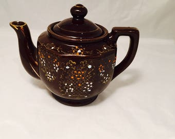 Vintage Dark Brown Ceramic Teapot, Hand Painted Floral Design, Made in Japan