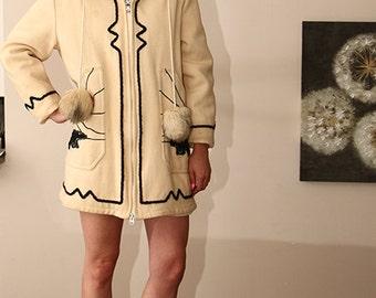 fur hooded eskimo polar bear applique wool parka coat
