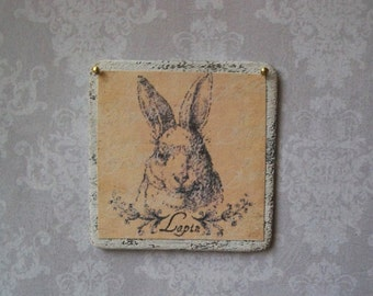 French Rabbit Sign Shabby Chic Miniature Wood Wall Art Vintage Lapin 1:12 Dollhouse Scale Cottage,