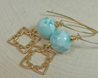 Larimar, Bronze Filigree and Gold Filled Dangle Earrings on Marquis Ear Wires