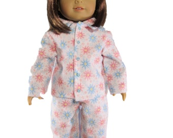 Floral flannel winter pajamas pink flowers blue flowers fits 18 inch dolls like american girl