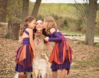 Rustic flower girl dress, bohemian flower girl dress, fairy costume, fall flower girl dress, custom flower girl dress, rustic girls dress