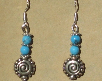 Spiral Earrings with Blue Howlite Beads
