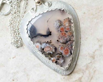 RESERVED FOR MARY F.  Orange White Floral Plume Agate Pendant in Sterling Silver plus 14K gold ball Handcrafted