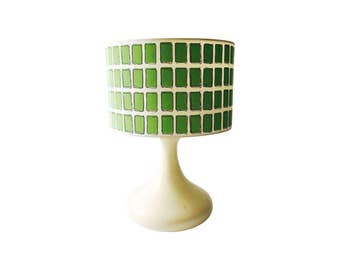 Mid Century Off White Table Lamp with Green Shade