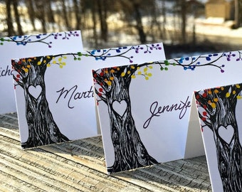 Rainbow Trees Tented Wedding Place Cards, personalized, hand-lettering available