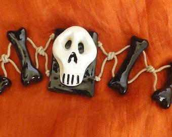 Handmade Clay Skull Hemp Bracelet