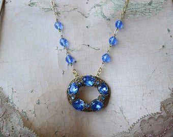Bombay Sapphire // Stunning Vintage Sapphire Necklace with Vintage Czech Beads, Pinup Art Deco Bohemian Glamour Old Hollywood Bridal Bride