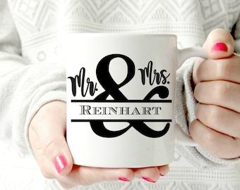 Mr and Mrs. Custom coffee mug. Ampersand - Ceramic Mug - words. script. Coffee cup - Classy Mug. Couple mug. Housewarming. Newlyweds