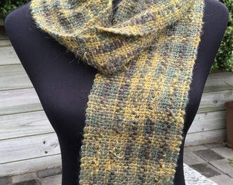 Random dyed green and yellow handwoven scarf in wool and manmade yarns, warm winter scarf, handmade scarf