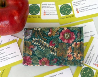 English garden print ID wallet business card holder reuse vegan rose yellow white blooms on greenery design fabric