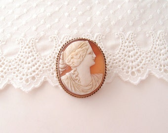 antique 10k Cameo Brooch Edwardian 1900s large carved shell gold frame Pin